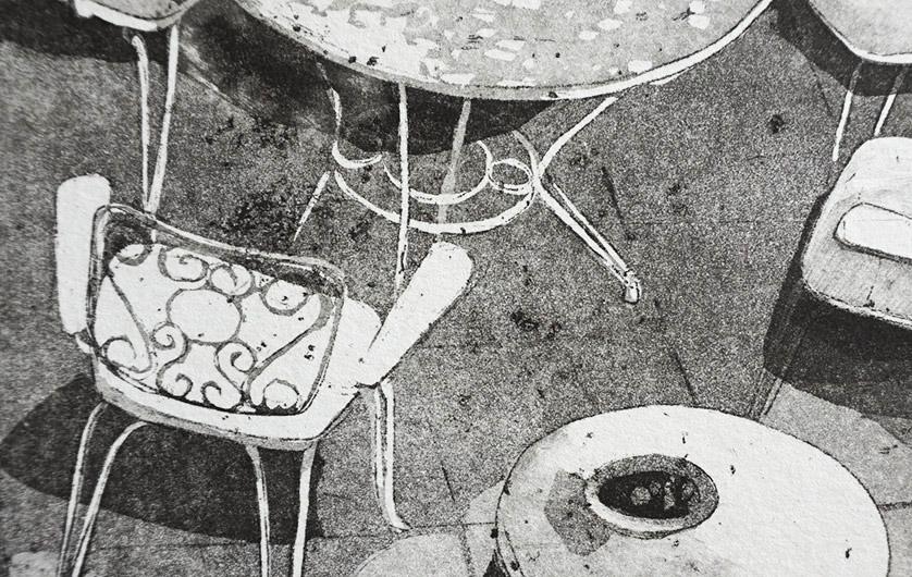 Démarche de Muriel Bernard, technique de l'eau forte pour les gravures